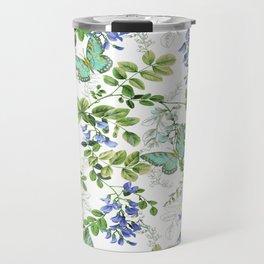 blue wisteria w butterflies Travel Mug