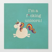 unicorn Canvas Prints featuring Unicorn - I'm a maturely speaking unicorn!!! by LucyDynamite