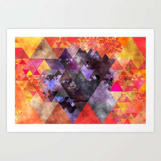 Abstract fire red yellow blue Triangle pattern- Watercolor Illustration Art Print