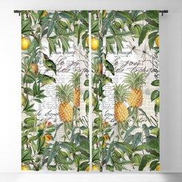 Tropical Fruit Illustration Vintage Style Blackout Curtain
