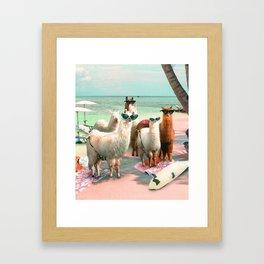 Funny Llama Beach Framed Art Print