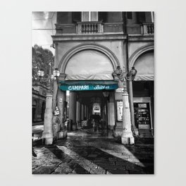 Black and White Bologna Street Photography Vector Green Canvas Print