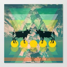 cows are dreaming of funky mountains Canvas Print