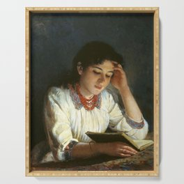 Tony Robert-Fleury - Girl reading Serving Tray