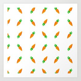 Hand painted green orange watercolor carrots pattern Art Print