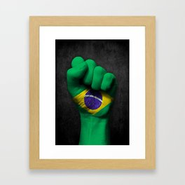 Brazilian Flag on a Raised Clenched Fist Framed Art Print