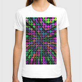 geometric circle abstract pattern in pink blue green black T-shirt