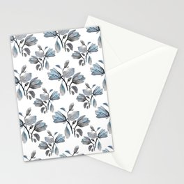 Modern Magnolia Blossoms in Teal and Dusty Blue Stationery Cards