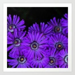 Purple succulent flowers watercolor effect Art Print