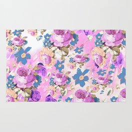 ROSES GIRLY PINK PURPLE AND BLUE FLOWER PATTERN Rug