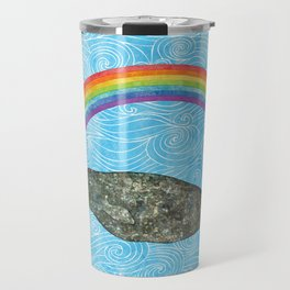 Narwhale Rainbow Blue Ocean Waves Travel Mug