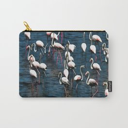 Flamingo Birds In Pink and White On Blue Carry-All Pouch