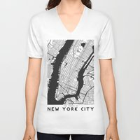 new york map V-neck T-shirts featuring New York City map by Studio Tesouro