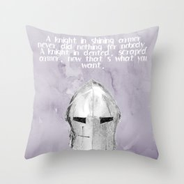 A Knight In Dented Armor Throw Pillow
