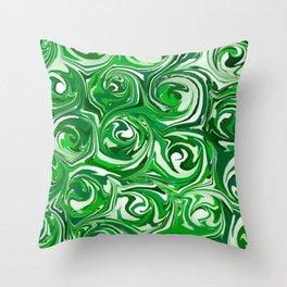 Emerald Green, Green Apple, and White Paint Swirls Throw Pillow