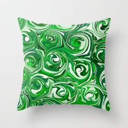 Emerald Green, Green Apple, and White Paint Swirls Throw Pillow