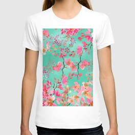Elegant hand paint watercolor spring floral T-shirt