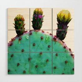 Three Cactus Flowers Wood Wall Art