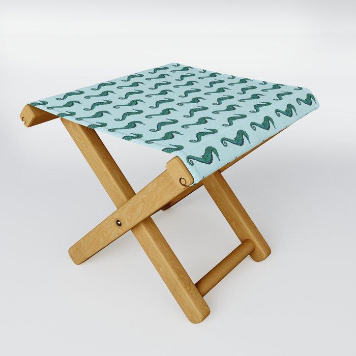 Seahorse Pattern | Vintage Sea Creatures | Nautical Patterns | Blue | Green | Folding Stool