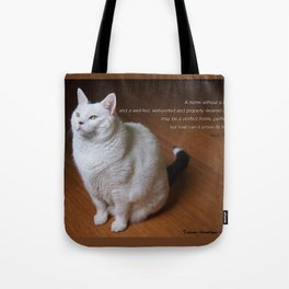 Cat with Mark Twain quote Tote Bag