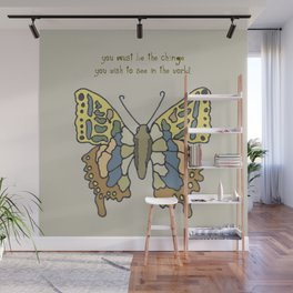 Rajeram's butterfly with Ghandi Quote Wall Mural