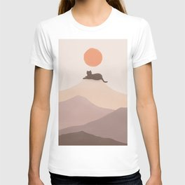 Good Morning Meow 6 - Join Landscape Mountain print  T-shirt