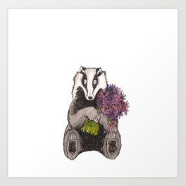 Badger with Flowers Art Print