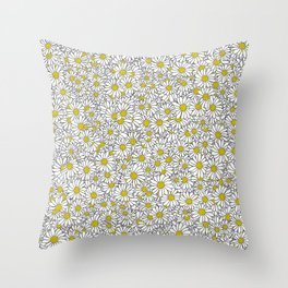 Daisy Doodle Pattern Throw Pillow