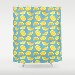 Lemon Slices and Wedges on blue Shower Curtain
