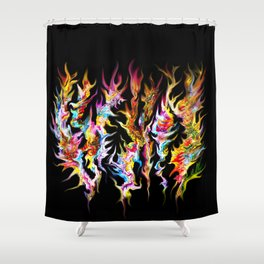 Abstract Space Flames Shower Curtain