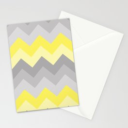Yellow Grey Gray Ombre Chevron Stationery Cards