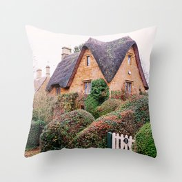 Thatched Roof Cottage Cotswolds England Throw Pillow