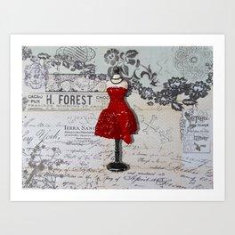 Red Dress Form Girls Room Bedroom Art Bathroom Art A733 Art Print