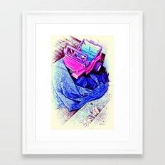 Jeep & Tarp & Chalks Framed Art Print