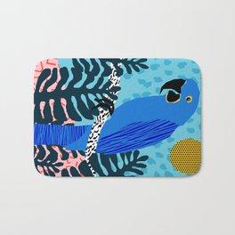 Steaz - memphis throwback tropical retro minimal bird art 1980s 80s style pattern parrot fashion Bath Mat
