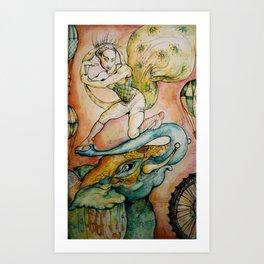 Acrobat & Elephant Art Print
