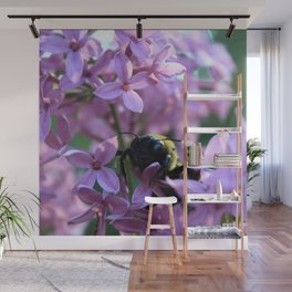 Busy Bee in Lilac Art Photography Wall Mural