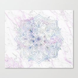 Marble Mandala - Purple Blue Rose Gold Canvas Print