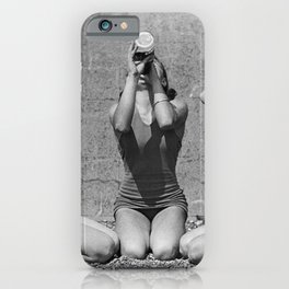 What the girls drink when the guys aren't looking - three girlfriends drinking at the beach black and white photograph iPhone Case