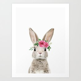 Baby Bunny with Flower Crown Art Print