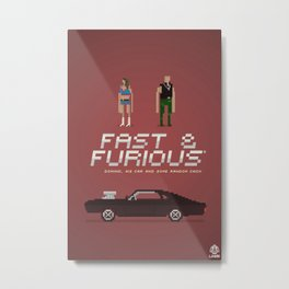 Pixel Art Fast And Furious Metal Print