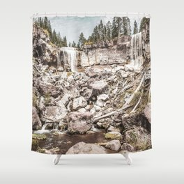 Rock Land Waterfall // Dull High Contrast Gray Tone Wilderness Photograph Shower Curtain