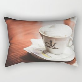 cappuccino on the table Rectangular Pillow