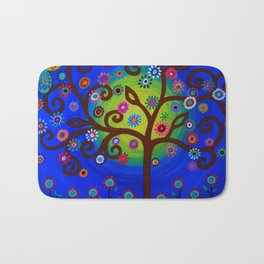 Whimsical Tree of Life Summer Dreams Painting Bath Mat