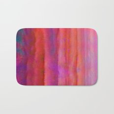 Striped Watercolor Art vibrant Red and Pink Bath Mat