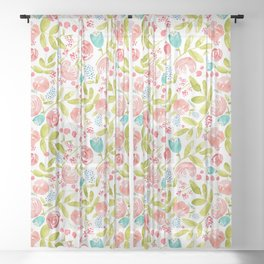 Bountiful Bouquet Watercolor Floral Sheer Curtain