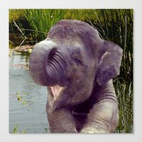baby elephant Canvas Prints featuring Baby Elephant by Erika Kaisersot