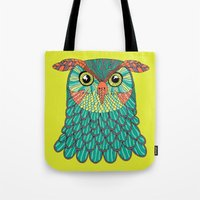 lime green Tote Bags featuring owl - Lime green by bluebutton studio
