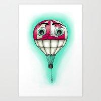 baloon Art Prints featuring Acrophobia Baloon by Tayler Kiiim