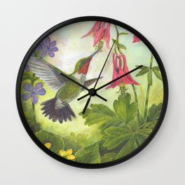 Hummingbird and Columbine Wall Clock